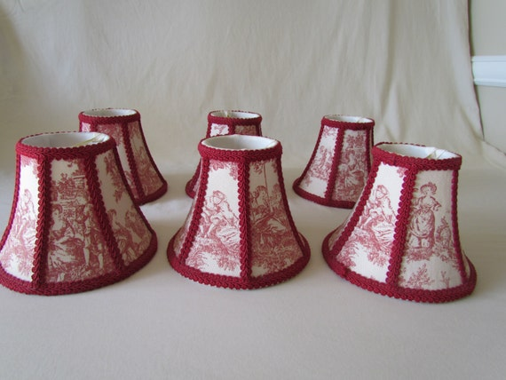 Set Of Six Chandelier Shade Red Toile Country Life By