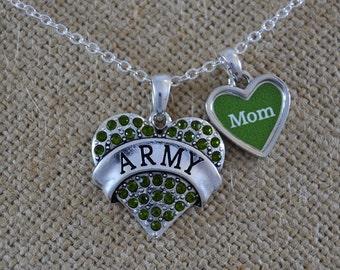 Army Mom Rhinestone Heart Necklace