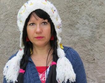 Hand Knit Hat Womens Hat Knit Hood Earflap - Tassel Hat WHITE SENSATION