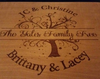 Family Tree Leaves Wood Cutting Board