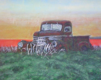 For sale original acrylic painting of old pickup in field.