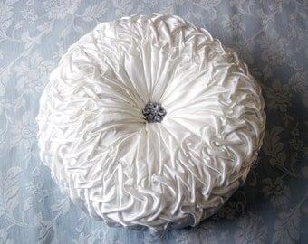 Smocked Satin Cushion with Gorgeous Rhinestone Button