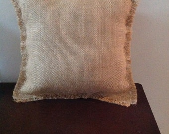 Hand Sewn Real Burlap Pillow with Fringe(12in.x12in.)