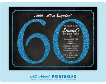 60th Birthday Invitation. 60th Bday Party. Blue Glitter Birthday Party Invite. Surprise Birthday. Chalkboard. Elegant. DIY Printable Digital