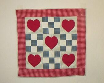 Valentine Hand Appliqued  Quilt Wall Art