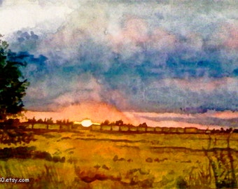 Framed Original Pink Sunset Watercolor Landscape Painting. Sunset painting. Watercolor art. Sunset wall art. Watercolor train. Country decor
