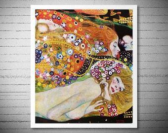 Water Serpents (detail) by Gustav Klimt - Poster Paper, Sticker or Canvas Print