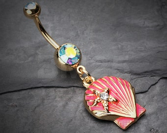 Ariel's Pink Shell Dangle Belly Button Ring