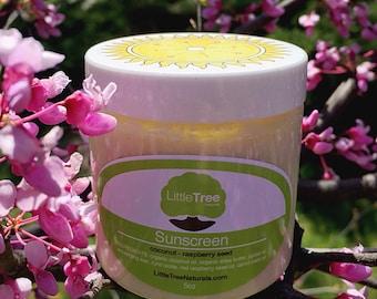 5oz Coconut- Raspberry Seed Sunscreen w/ Carrot Seed Oil: VEGAN/ Gentle Formula/ All Natural Handmade/ Waterproof/ Organic