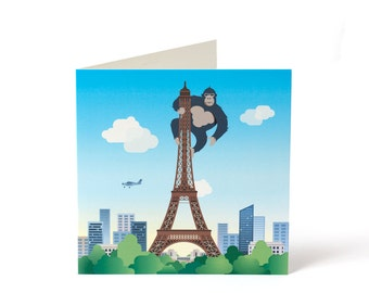 King Kong - Paris Eiffel Tower / Greetings Card