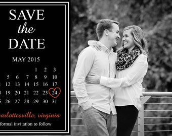 Wedding Save the Date Photo Calendar in Black & White - Print from Home