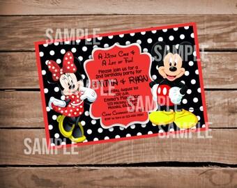 Mickey & Minnie Mouse Birthday Inviation - Twins, Single, Siblings, Polka Dots