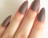 Matte Chocolate False Nails