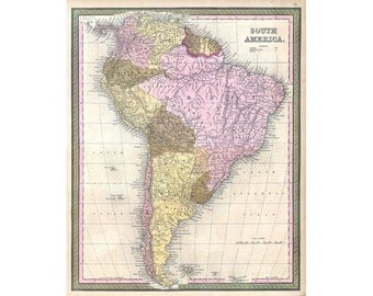 South America Map Vintage South America Atlas 1850 Mitchell Bar Den Wall Art Print