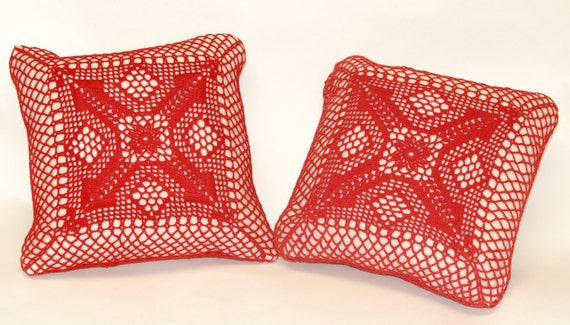 Red Crochet Lace Throw Pillows by JEMExpressions on Etsy