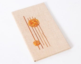 Vintage Linen Notebook Cover with genuine Baltic amber pieces (CI332)