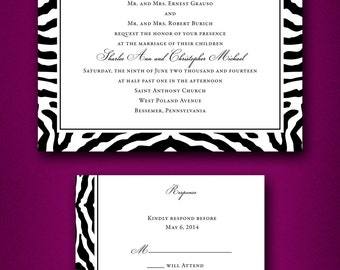 Black & White Zebra Print Wedding Invitations • Trendy Wedding Invitations • Zebra Invitations • Animal Print Wedding Invites • Fun Wedding