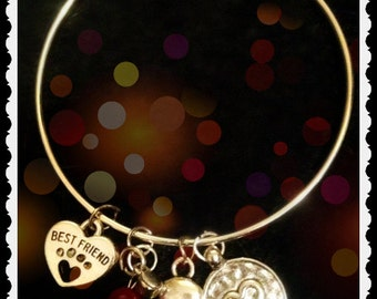 "Custom Sterling Expandable Bangle ""Best Friends"""