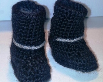 Crochet MOTORCYCLE BOOTIES for Baby