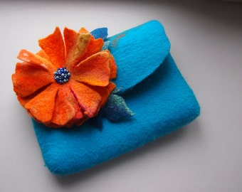 Felted wool purse-Felted bag-Wool clutch-clutch bag-Fanny pack-turquoise-Orange