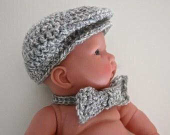 Newborn Baby Boy Crochet Driver Cap and Bow Tie Set