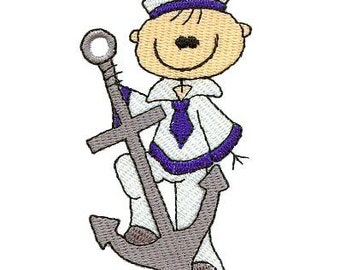 Sailor Sticks - Machine Embroidery - 4x4 hoop - Stick People Embroidery Designs