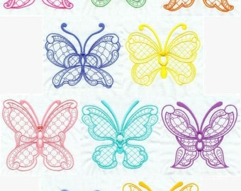 Lace Butterflies - INSTANT DOWNLOAD - Machine Embroidery - 4x4 hoop