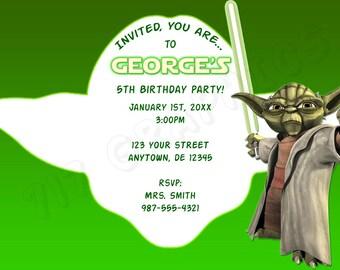 Star Wars Yoda Birthday Invitation - Printable