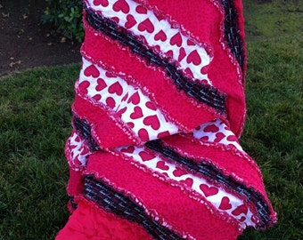Red and Black Hearts rag Quilt