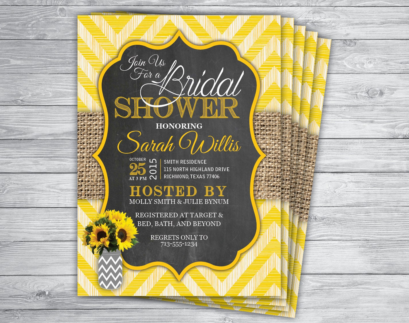 any event/color chevron stripes burlap sunflower by printpros, Bridal shower invitations