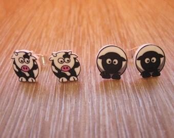 Adorable Farm Animal Shrink Plastic Stud Earrings - Cows or Sheep