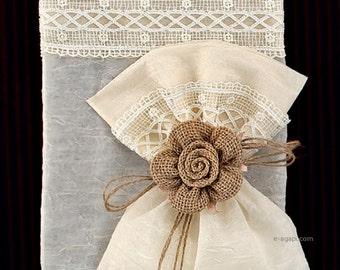 50-150 Lace burlap favors Christening favors Baptism bomboniere Wedding bomboniere Greek handmade guests gift Ivory favor sack Burlap flower