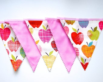 Pink Apple Banner, Apple Decoration, Bunting Banner, Fabric Flags, Nursery Decor, Birthday Decoration, Baby Shower