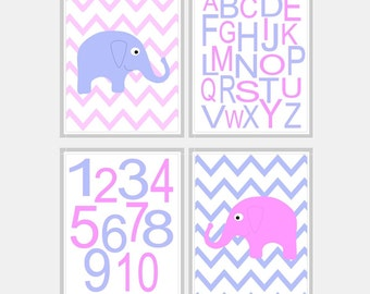 Pink and Blue Nursery Elephant Print - Baby Boy Elephant Nursery Art Decor - Blue and Pink Elephant Baby Girl Nursery Art - Pick Size