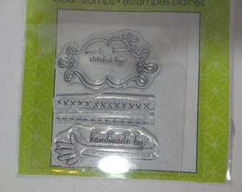 "Clear Stamps Studio G - I Clear Pack Includes - ""Handmade By"", ""Stitched By"" - Set of 3 - Unused"