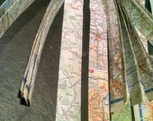 2 sheets of paper strips from Rand McNally atlas 1 inch wide and 15 inches long about 22 strips for decoupage mixed media collages recycle