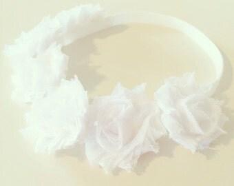 White Flower Crown Headband | White Flower Crown Headband for Baby Toddler + Girls, White Flower Crown, Flower Girl, Baptism Christening