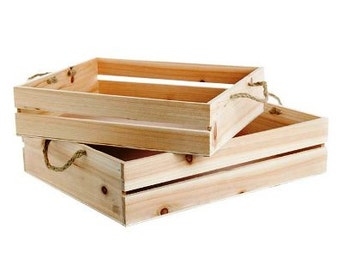 Wooden Hamper Crates - Set of 2 Gift Baskets / Boxes - 43 x 34 x 10cm & 37cms x 28cms - Crate Set