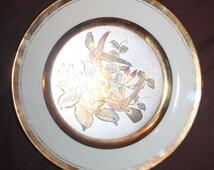 Q12 Vintage Signed and Numbered 1983 Cokin Hummingbird Plate Yoshinobu Hara 25 KT Gold Trim
