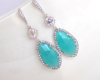 Wedding Jewelry, Bridal Earrings, Mint Earrings, Blue Mint, Aqua, Turquoise,Silver,Cubic Zirconia, Bridesmaid Earrings, Dangle,Long Earrings
