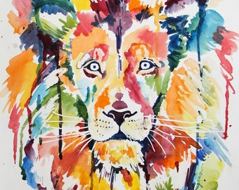 Wild Lion- Giclee Print of an original Kristin Douglas.