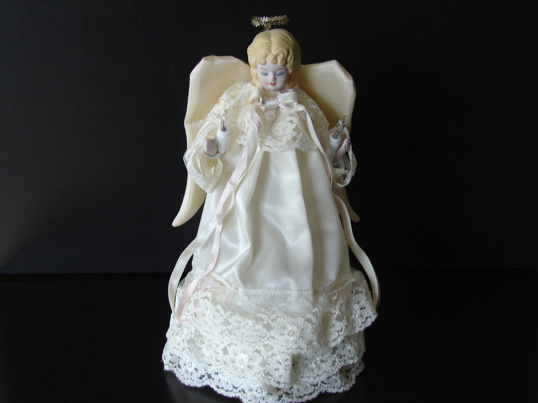 vintage lighted porcelain angel tree topper. Black Bedroom Furniture Sets. Home Design Ideas