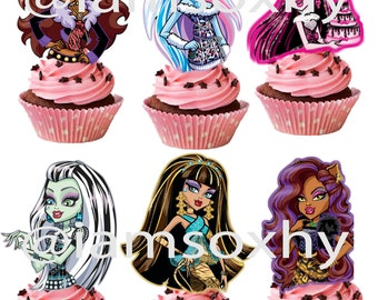 24 Monsterhigh cupcake toppers