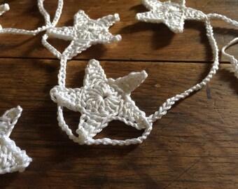 "Crochet Stars Garland ""SnowWhite"" or ""Natural"""