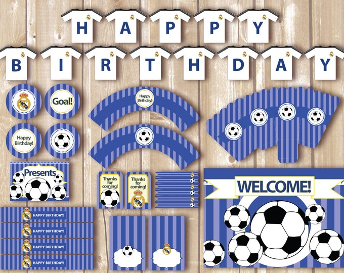Soccer Party Package. Instant download. Printable. Matching Custom invitation available. Real Madrid inspired printables.