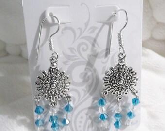 Artisan Silver Aztec & Beads Earrings handmade New