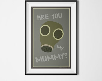 Ninth Doctor Doctor Who Are You My Mummy? Minimalist Typography Print Poster