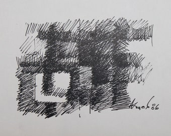 1986 Abstract avant garde ink drawing signed