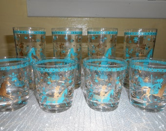 Vintage Atomic Drinking Glasses and Barware Set: PERSIAN GOLD HORSES Turquoise Glasses 1950's 1960's.