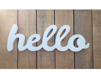 HELLO wooden sign, home decor, word art, handwritten,cursive, typography, woodworking, wood sign, hello, Gift